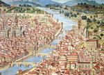 The 'Carta della Catena' showing a panorama of Florence, 1490 Wall Art & Canvas Prints by Trevor Neal
