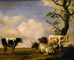 Four Bulls, 1649 Fine Art Print by South African School