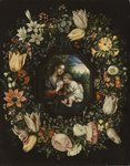 Madonna and Child in a garland of flowers, c.1625 Wall Art & Canvas Prints by Jan Brueghel
