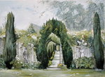 Yew Arches, Garsington Manor, 1997 (tempera) Wall Art & Canvas Prints by Anthony Southcombe