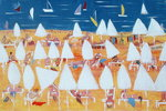 White sun umbrellas, 2004 Fine Art Print by Anne Durham