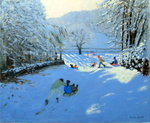 Pushing the Sledge, Youlgreave (oil on canvas) Wall Art & Canvas Prints by Andrew Macara