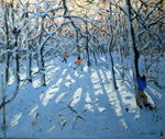 Winter woodland, near Newhaven, Derbyshire (oil on canvas) Wall Art & Canvas Prints by Andrew Macara