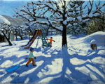 The slide in winter, Bourg, St Moritz (oil on canvas) Wall Art & Canvas Prints by Andrew Macara