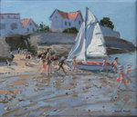 White sailboat, Palais sur Mer, France (oil on canvas) Wall Art & Canvas Prints by William Ireland