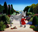 Girl with Zebra, 1984 (acrylic on board) Wall Art & Canvas Prints by Anthony Southcombe