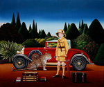 Red Rolls Royce, 1992 (acrylic on board) Fine Art Print by Janet and Anne Johnstone