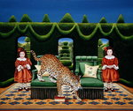 Two Sisters with a Jaguar, 1994 (acrylic on board) Wall Art & Canvas Prints by Anthony Southcombe