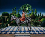 Lady on a Zebra, 1981 (acrylic on board) Wall Art & Canvas Prints by Anthony Southcombe