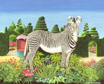 Zebra in a Garden, 1977 (acrylic on board) Postcards, Greetings Cards, Art Prints, Canvas, Framed Pictures, T-shirts & Wall Art by Anthony Southcombe