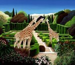 Giraffes in a Garden, 1980 (acrylic on board) Postcards, Greetings Cards, Art Prints, Canvas, Framed Pictures & Wall Art by Anthony Southcombe