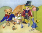 Granny Tuffy's Toys (w/c on paper) Wall Art & Canvas Prints by Lavinia Hamer