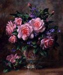 Pink Roses to Bid You Welcome, 1999 (oil on canvas) Fine Art Print by Ignace Henri Jean Fantin-Latour