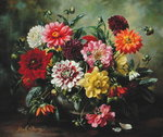 Dahlias Fine Art Print by Albert Williams