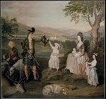 John, the 4th Duke of Atholl and his family, 1780 (oil on canvas) Fine Art Print by Jacobus Schlachter