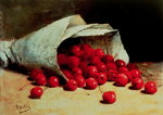 A spilled bag of cherries Fine Art Print by William Henry Hunt