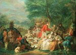 La Chasse, 18th century Postcards, Greetings Cards, Art Prints, Canvas, Framed Pictures & Wall Art by Nicolas Lancret