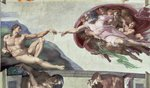 Sistine Chapel Ceiling (1508-12): The Creation of Adam, 1511-12 (fresco) (post restoration) Wall Art & Canvas Prints by Michelangelo Buonarroti