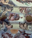 Sistine Chapel Ceiling (1508-12): The Separation of the Waters from the Earth, 1511-12 (fresco) (post restoration)