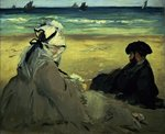 On the Beach, 1873 (oil on canvas) Wall Art & Canvas Prints by John William North