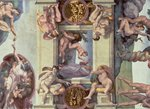 Sistine Chapel Ceiling (1508-12): The Creation of Eve, 1510 (fresco) (post restoration) Wall Art & Canvas Prints by Michelangelo Buonarroti