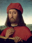 Portrait of a Man (oil on canvas) Fine Art Print by Pietro Perugino