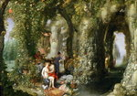 A Fantastic cave with Odysseus and Calypso (oil on canvas) Wall Art & Canvas Prints by Anthony Southcombe