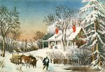 Bringing Home the Logs, Winter Landscape, 19th century Poster Art Print by Charles Filiger