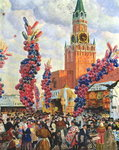Easter Market at the Moscow Kremlin, 1917 (oil on canvas) Postcards, Greetings Cards, Art Prints, Canvas, Framed Pictures, T-shirts & Wall Art by Mexican School