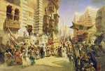 The handing over of the Sacred Carpet in Cairo, 1876 (oil on canvas) Postcards, Greetings Cards, Art Prints, Canvas, Framed Pictures, T-shirts & Wall Art by Lucy Willis