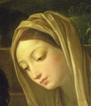 The Adoration of the Shepherds, detail of the Virgin, c.1640-42 (oil on panel) (detail of 35651)