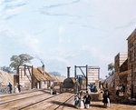 Liverpool and Manchester Railway: Taking water at Parkside, 1831 (aquatint)