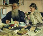 Leo Tolstoy with his wife in Yasnaya Polyana, 1907 Fine Art Print by Georges de la Tour
