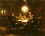 Family supper in the lamp light, 19th century Wall Art & Canvas Prints by Ruth Addinall