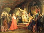 Prince Roman of Halych-Volhynia receiving the ambassadors of Pope Innocent III, 1875 Fine Art Print by Martin II Mytens or Meytens