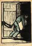 A man caught putting up political posters is thrown in prison, from 'Crimes and Punishments', special edition of 'L'Assiette au Beurre', 1st March 1902