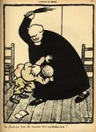 A priest beats a boy, from 'Crimes and Punishments', special edition of 'L'Assiette au Beurre', 1st March 1902 (colour litho) Fine Art Print by Felix Edouard Vallotton