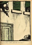 A bourgeois fires from his window on a passerby, from 'Crimes and Punishments', special edition of 'L'Assiette au Beurre', 1st March 1902 (colour litho) Fine Art Print by Felix Edouard Vallotton