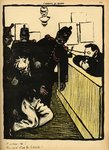 Three policemen bring a man beaten black and blue into the police station, from 'Crimes and Punishments', special edition of 'L'Assiette au Beurre', 1st March 1902 (colour litho) Fine Art Print by Felix Edouard Vallotton