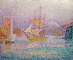 Harbour at Marseilles, c.1906 (oil on canvas) Wall Art & Canvas Prints by Theo van Rysselberghe