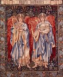 Angeli Laudantes, tapestry designed by Henry Dearle with figures by Edward Burne-Jones originally drawn in 1877/78, woven at Merton Abbey in 1894 by Morris and Co. (wool & silk on cotton) Fine Art Print by Albert Gustaf Aristides Edelfelt