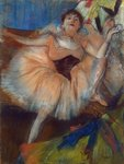 Seated Dancer, 1879-80 (pastel on cardboard) Fine Art Print by Pierre-Auguste Renoir
