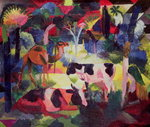 Landscape with Cows and a Camel Fine Art Print by August Macke