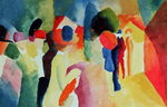 Woman with a Yellow Jacket, 1913 (watercolour) Wall Art & Canvas Prints by August Macke