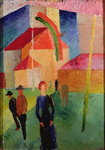 Church Decorated with Flags (oil on canvas) Wall Art & Canvas Prints by Amedeo Modigliani