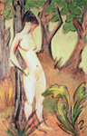 Nude Standing Against a Tree (oil on canvas) Fine Art Print by Amedeo Modigliani