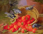 Still Life with Strawberries and Bluetits Fine Art Print by William Henry Hunt