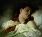 Sleeping Woman Fine Art Print by Sir Frank Dicksee
