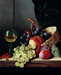 Grapes and plums (oil on canvas) Fine Art Print by Joseph Jacob Plenck