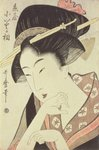 Bust portrait of the heroine Kioto of the Itoya Postcards, Greetings Cards, Art Prints, Canvas, Framed Pictures, T-shirts & Wall Art by Kitagawa Utamaro